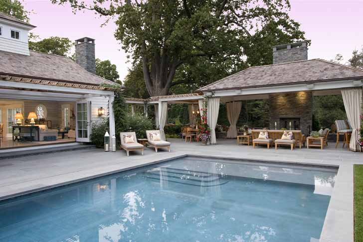 Outdoor design eric cohler design interior design new york london for Swimming pool entertaining areas
